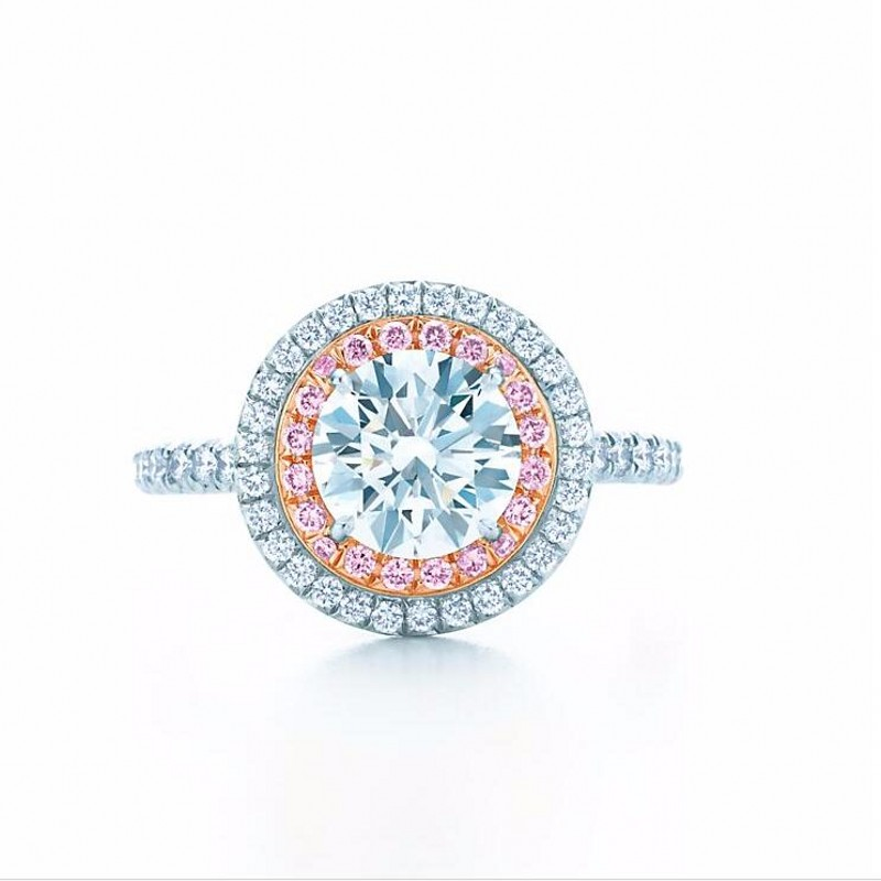 Fashion jewelry 925 Sterling Silver ring Round-cut 2ct Diamant Pink 2 Surround Pave setting cz Wedding Band Rings For Women