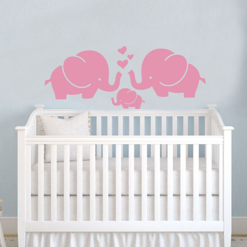 Cute Elephant Hearts Family Wall Decals Baby Nursery Decor Kids Room Wall  Stickers Indoor Baby Room Mural Decoration In Wall Stickers From Home U0026  Garden On ...