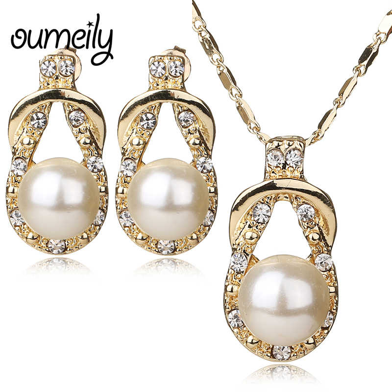 OUMEILY Necklace Earrings Gold Color Jewelry Set For Women Simulated Pearl Vintage Bridal Wedding Imitation Crystal Accessories