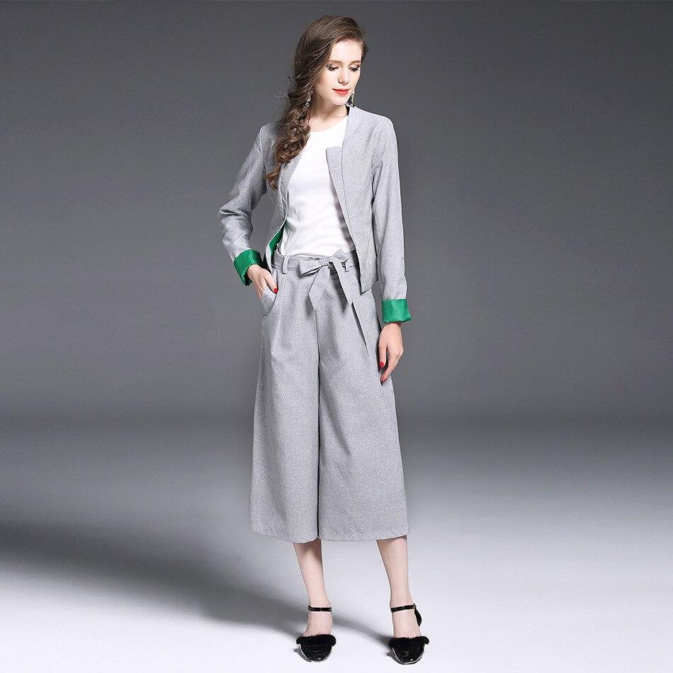 Blazer for Girls Office Suit 3 Piece Set Womens Tracksuits Skirt Pant Shirt Top + Runway coat + Wide Leg Pants Outfits vestidos