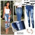 2016 New Women Casual Stretch Denim Pencil Jeans Female Pants Elastic Jeans Broken Hole Mid Waist Blue Long Jeans Trousers