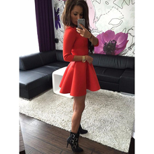 Party Dresses Women's 3/4 Sleeve Sexy Spring Winter Evening Party Bodycon Mini Skater Dress Long Sleeve Red Black Gray Vestidos