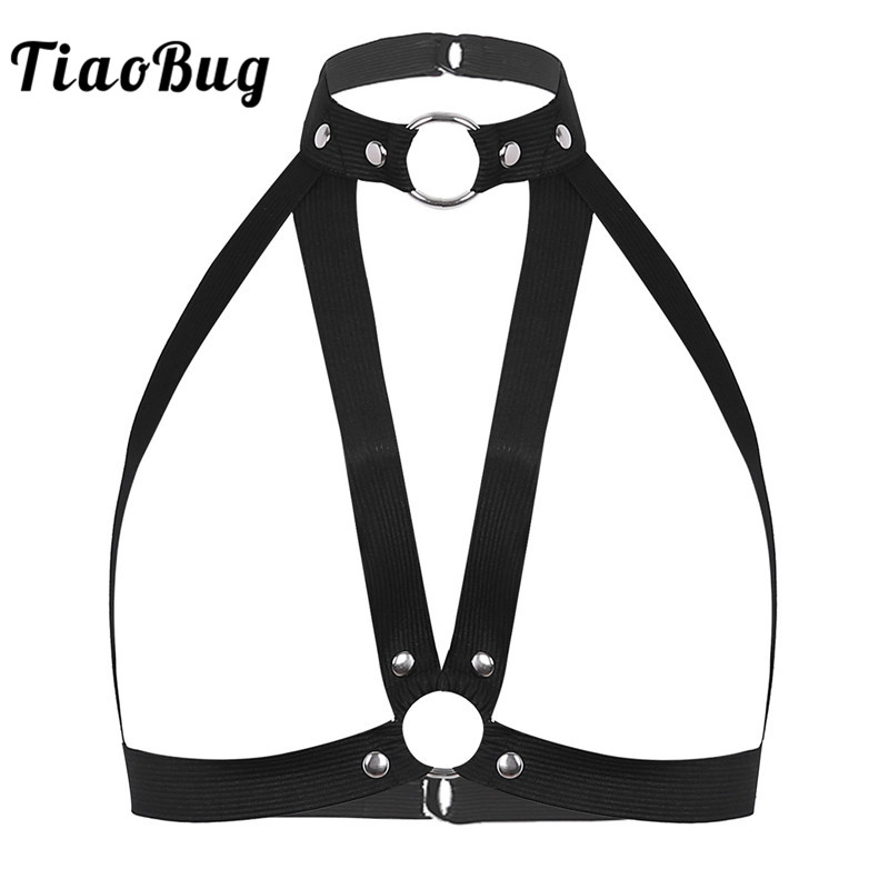TiaoBug Women Black Halter Elastic Band Gothic Caged Bra Punk Body Chest Harness Festival Rave Bondage Belt Straps Top Lingerie