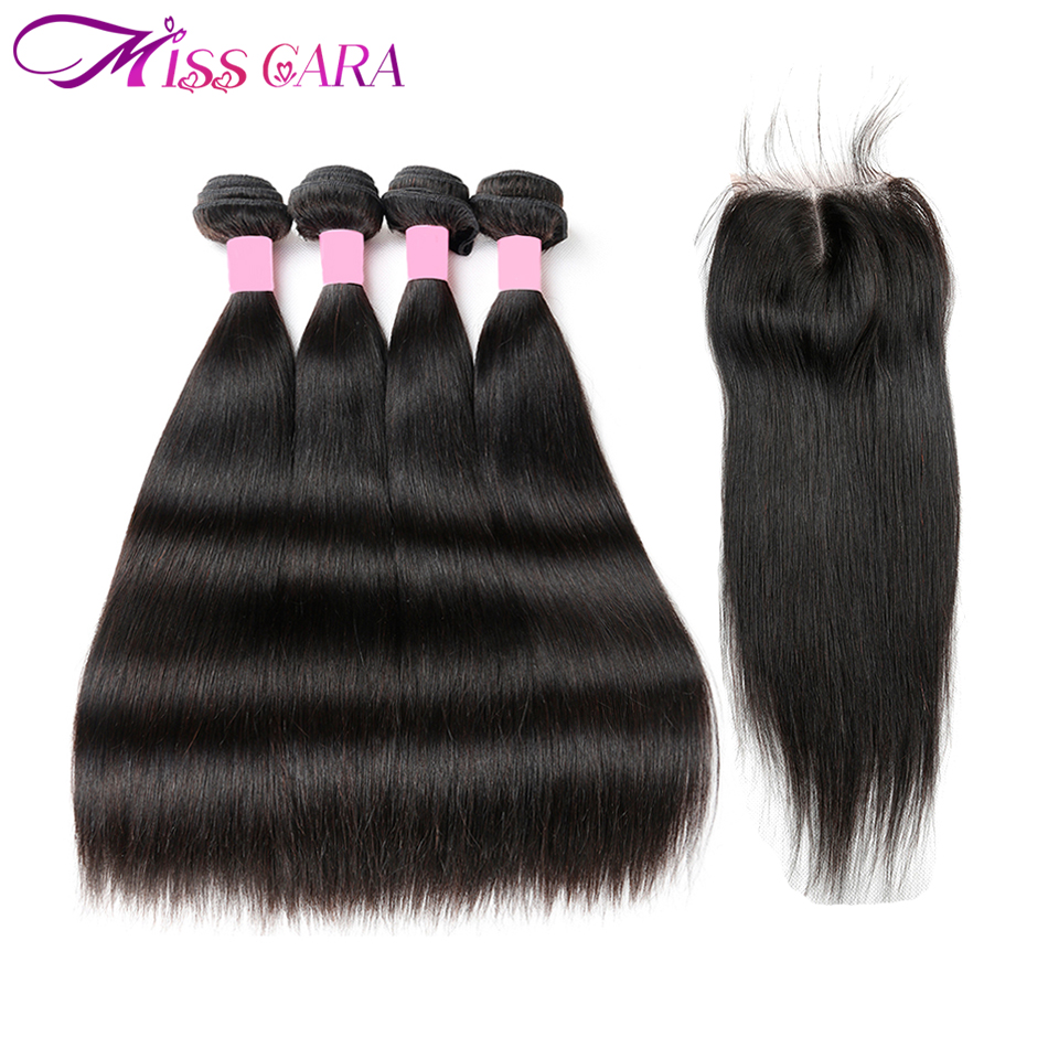 Brazilian Straight Hair 4 Bundles With Closure 100% Human Hair Bundles With Closure 4*4 Middle/Free Part Closure Miss Cara Remy