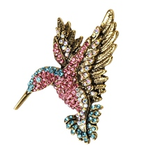 Amazing Lively Hummingbird Brooch Pin Crystal Rhinestone Animal Bird Women Garment  Scarf Accessory Vintage Jewelry Brooch(