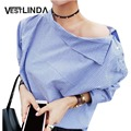 VESTLINDA Blouses Women Summer Sexy One Shoulder Top Striped Slash Neck Side Buttons Long Sleeve Casual Shirt Loose Tops Blusas