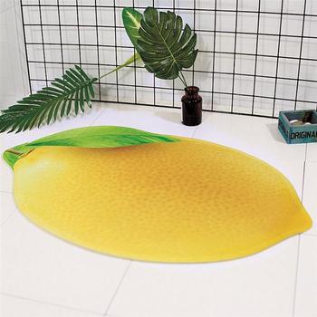 3D Fruit Pattern Bathmat Non-slip Bath Floor Mat Rugs Bathroom Kitchen Water-absorbing Carpet (Lemon)