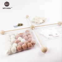 Felt Ball Baby Wool Beads Pink And White Baby Play Gym Silicone Elephant Baby Crib Toys