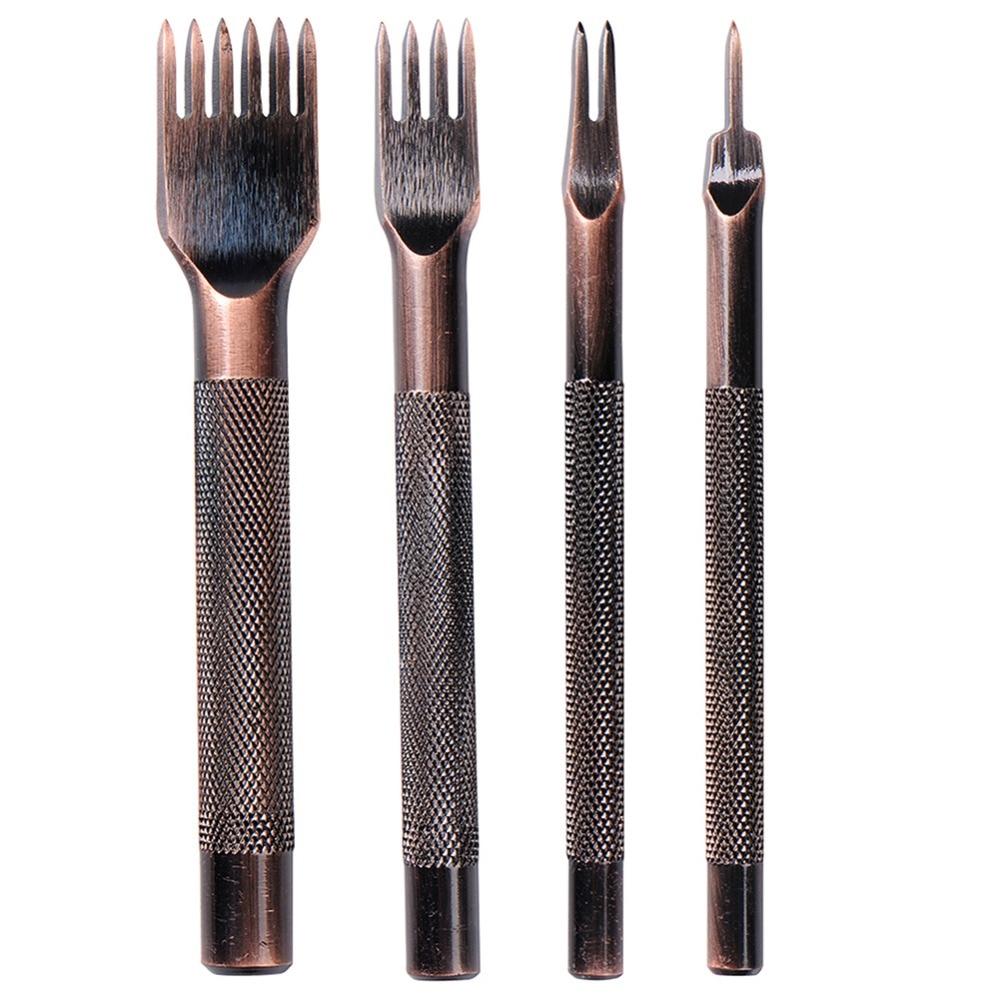 3 Pcs Leather craft Pricking Iron Stitching Chisel Hole Punch DIY Leather tools