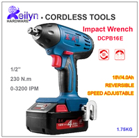18V 4 0Ah M12 M16 Cordless Impact Wrench Speed Adjustable Rechargeable Battery Operated Torque Wrench Tightening
