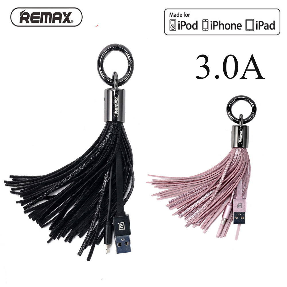 Remax Leather Tassel key chain USB Cable 3A fast charger cables mini usb Data Transfer Cord Charger for iPhone 5 6 7 8 plus