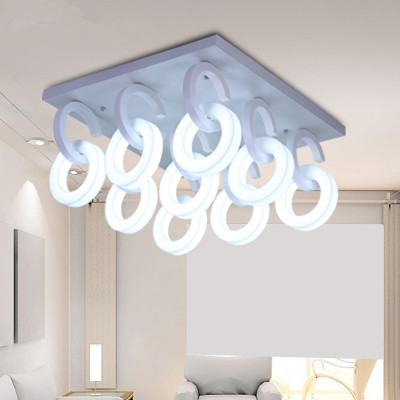 Free Shipping 198w W T5 Ring tubes Round Acrylic 70*40*39cm 9 Light Ceiling Lamp 110-240v