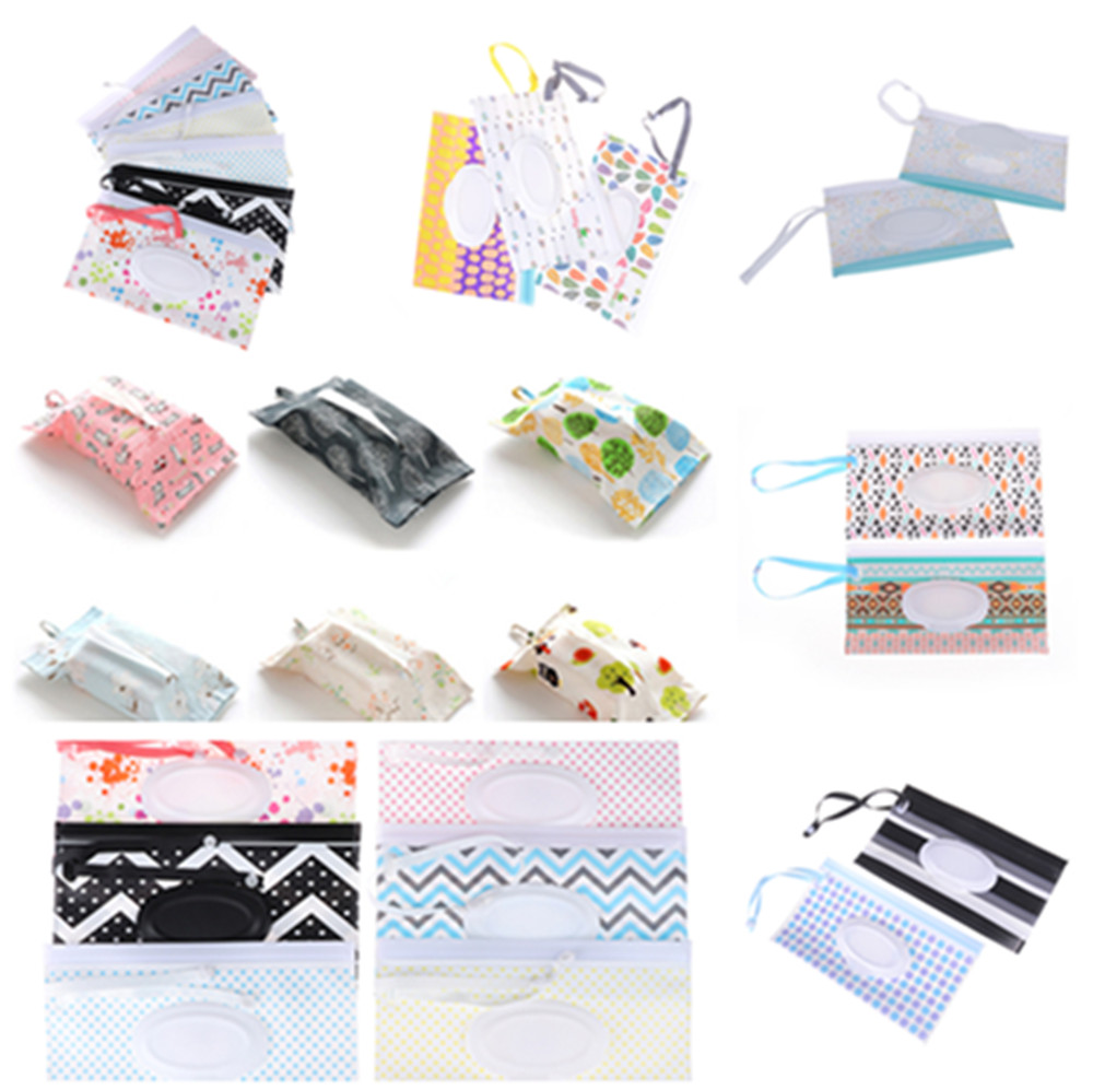 Easy-carry Clutch And Clean Wipes Carrying Case Eco-friendly Wet Wipes Bag Clamshell Cosmetic Pouch Snap-strap Wipes Container