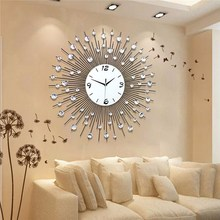 Charminer New Luxury Scenic Iron Art Metal Living Room Round Diamond Wall Clock Home Decor About 60 x 60cm