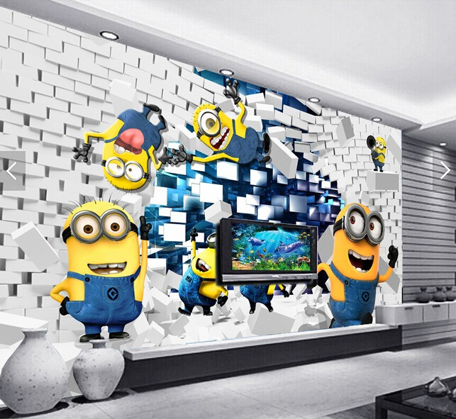 Living Room Background Animated: Custom Wallpaper Animation, 3D Small Yellow People For