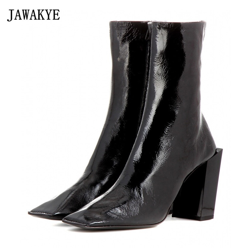 JAWAKYE Square Toe Chunky high Heels Ankle Boots Women Wrinkled skin Genuine Leather Shoes woman Short fashion Boots for Women недорого