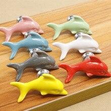 Красочный керамический рыбы Дельфин ручки шкафа дверные ручки-скобы шкаф ящик ручка для гардероба ручки