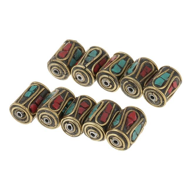 10 piezas cilindro Oval cobre tibetano de Nepal cuentas de latón para DIY pulsera haciendo