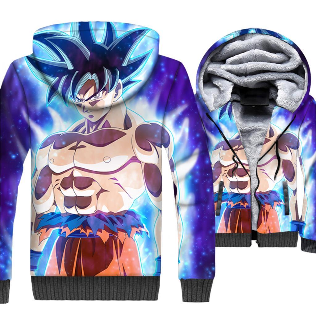 Japanese Anime Dragon Ball Hoodies Men Super Saiyan 3D Sweatshirt Musclefitting Coat Winter Thick Fleece Warm Vegeta Jacket Mens