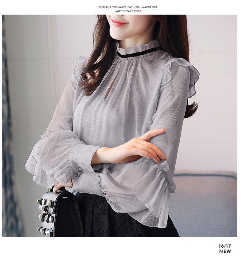 De Gray orange Dama Manga Alto 2019 Blusas Blusa Oficina Larga Gasa Moda Mujer Otoño Tops Y apricot Cuello Elegante WFwnpC8xfq