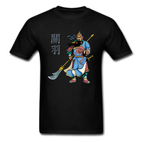 Chinese Hero Warrior Guan Yu Print Men T Shirt Mans Short Sleeve Black Tee Shirt Tops