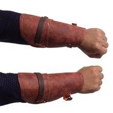 Мужские средневековые нарукавники винтажные стимпанк рукавицы черные коричневые ПУ широкие из искусственной кожи