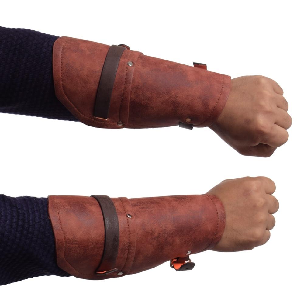 Men Medieval Bracers Armbands Vintage Steampunk Gauntlet Black Brown PU Faux Leather Wide Arm Armor