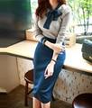 Novo Estilo Casual Mulheres Knitting Ternos Borboleta Patchwork Lace-Up Collar Completo Manga Tops Magro Magro Busto Saia 2 Peças Conjunto
