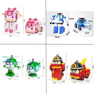 Image 5 - مجموعة من 6 قطعة بولي سيارة الاطفال لعبة روبوت تحويل سيارة الكرتون أنيمي ألعاب شخصيات الحركة للأطفال هدية juguداعي