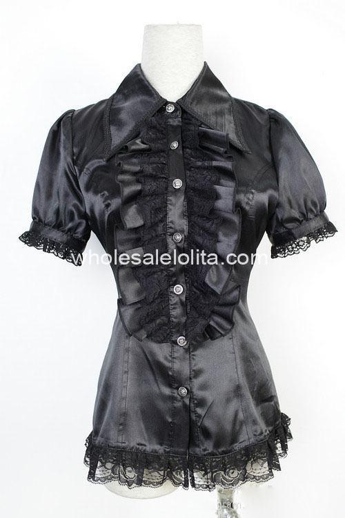 Custom Made Blouse Black Lace Short Sleeves Gothic Lolita Blouse Sweet Lace Lolita Shirt