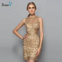 Dressv Yellow Beaded Lace Mini Cocktail Dress Scoop Neck Sleeveless Sheath Above Knee Short Cocktail Dress