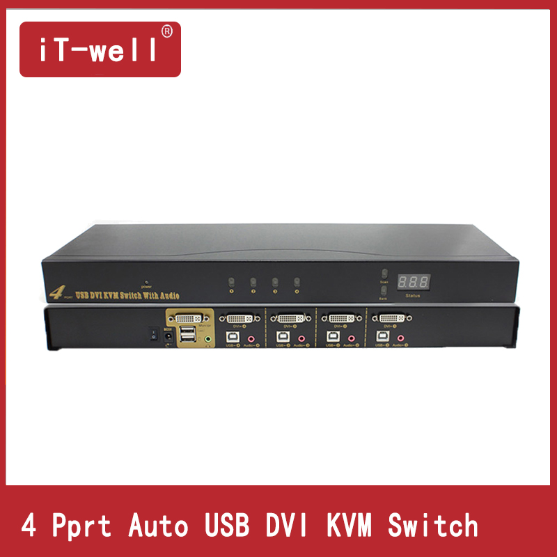 USB DVI KVM Switch 4 Prot With USB Sound Devices For Mouse Keyboard  Switcher Adapter Box KVM Switch Switching Function BOX