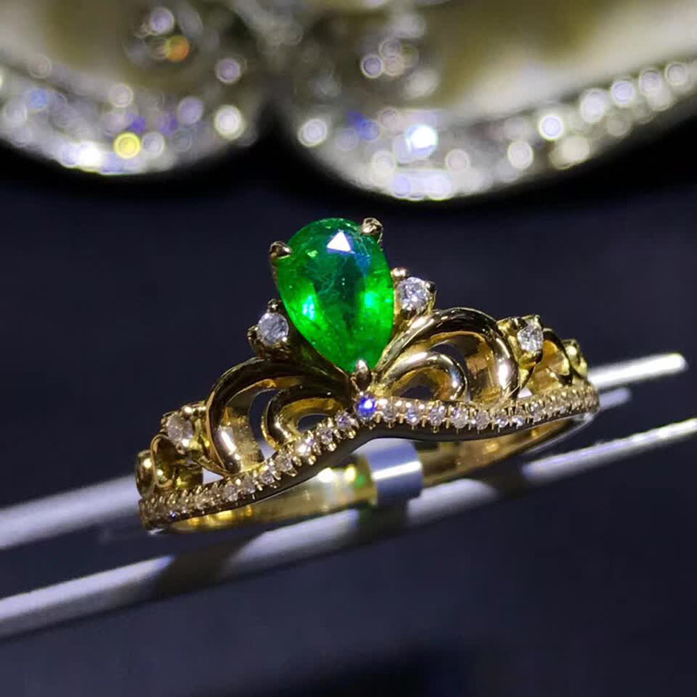 gemstone jewelry factory wholesale luxury 18k yellow gold South Africa real diamond natural emerald gold ring for women wedding 1
