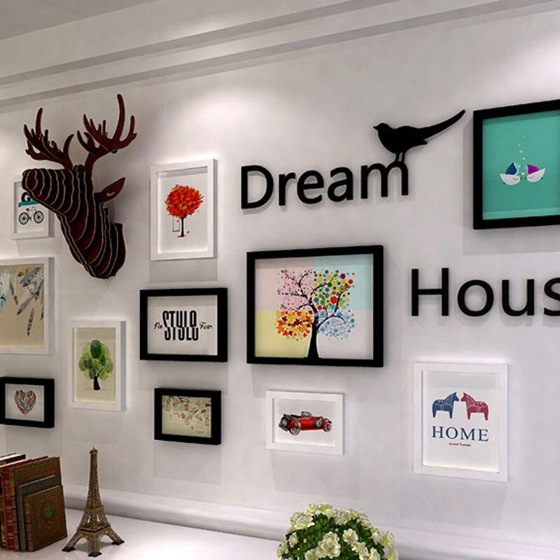 Aliexpress Nordischen Stil Holz Fotowand Wohnzimmer Dekorative Malerei Sets Restaurant Wand Rahmen Kombination Haushalt Dekoration DL16404 Von