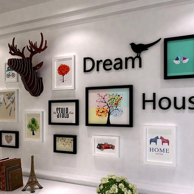 Nordischen stil holz fotowand wohnzimmer dekorative malerei sets ...