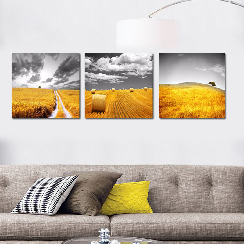 Three Panel Wall Art aliexpress : buy 3 panel wall art harvest of wheat canvas