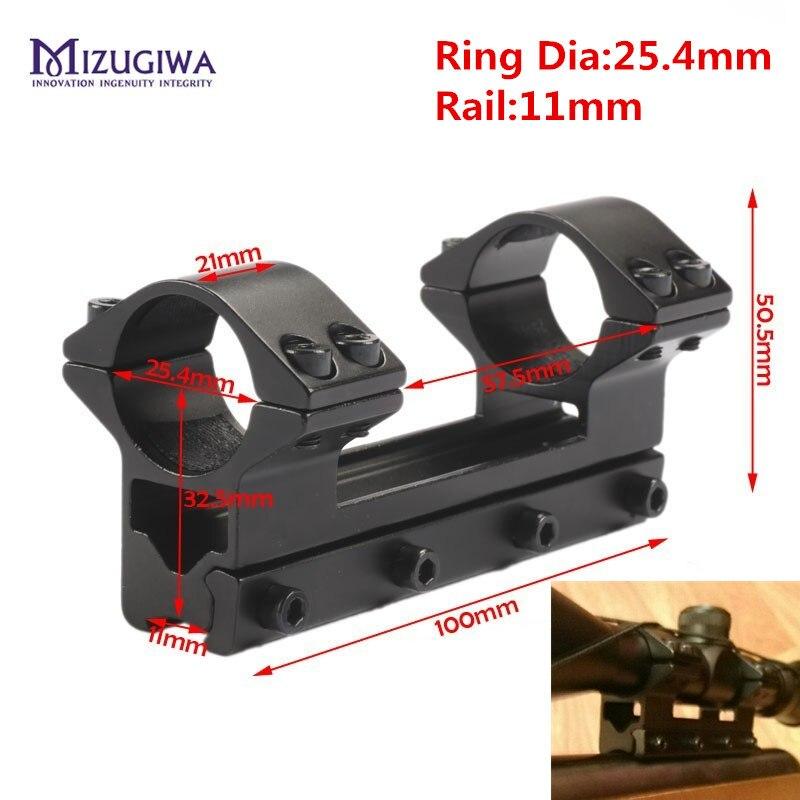 MIZUGIWA táctico 25,4mm una pieza alcance doble anillos superior Mount Dovetail anillo 11mm Weaver ferroviario pistola Airsoft adaptador