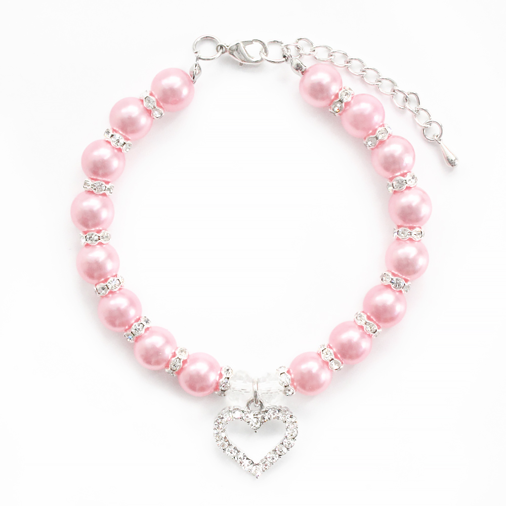 Handmade Pink Pearl Dog Necklace For Small Dogs Cat Groomer Jewelry Necklaces 6051001 Size L M S