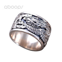 Vintage Solid 925 Sterling Silver Chinese Totem Flying Dragon Spinner Ring Band For Men Size 8