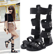 NAYIDUYUN   Women Knee High Gladiator Sandals Long Shaft Strap Flat Heel Summer Party Shoes Open Toe Strappy Buckle