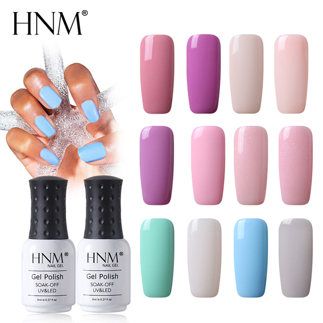 Hnm 8ml Light Color Solid 12 Colors Uv Gel Nail Polish Top Base Primer Stamping Led