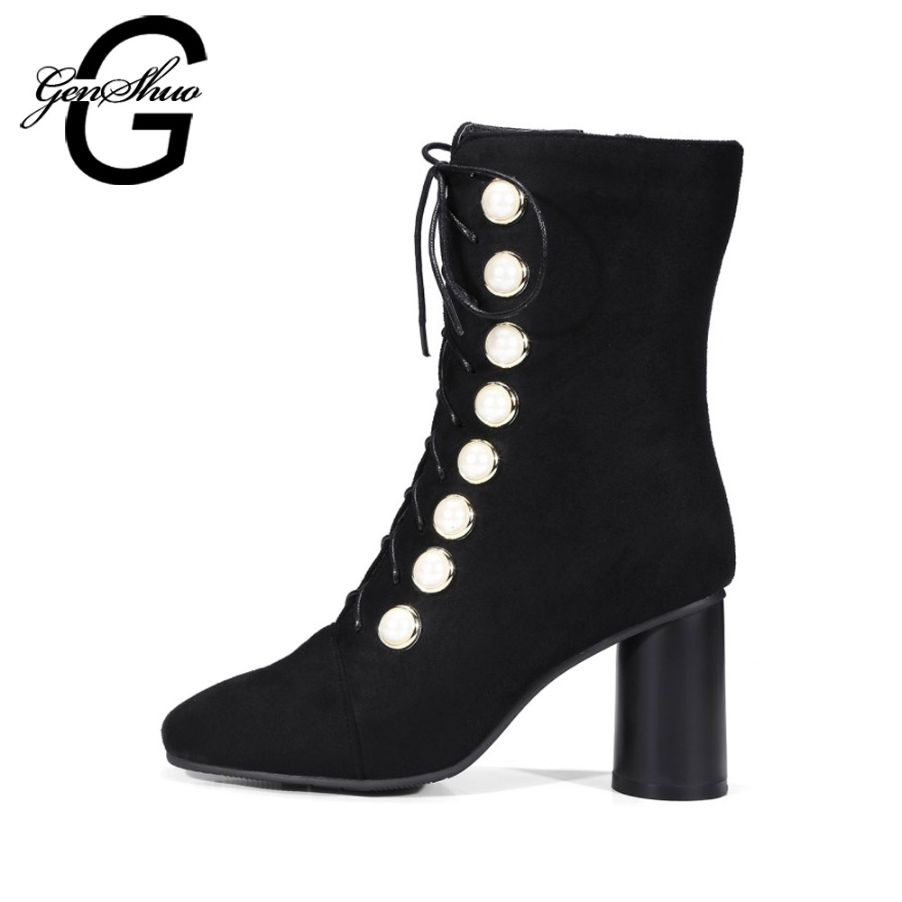 GENSHUO Lace Up Pearl Rivet Winter Boots For Women Pumps Mid Calf Boots High Heels Shoes Short Plush Square Toe Women's Boots
