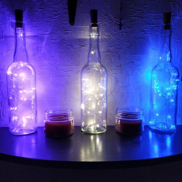 10LED/15LED/20LED Garland Solar Wine Bottle Lights Solar Cork Fairy Lights Christmas Light Copper Garland Wire String 6