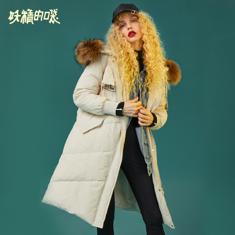 ELF SACK Winter New Woman   Down     Coats   90% White Duck   Down   Full Women Jackets Thick Casual Long Loose Femme   Down     Coats   Outerwear
