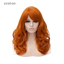 ccutoo 20″ Long Curly Orange Heat Resistance Fiber Synthetic Hair Party Cosplay Full Wigs Peluca