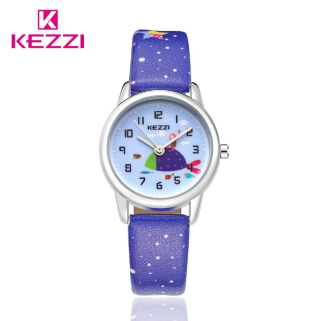 New Arrive In June Lovely Girls On Big Fish Free Life On Sea Students Watches HK Brand KEZZI Snowflake Candy Printed  Wristwatch