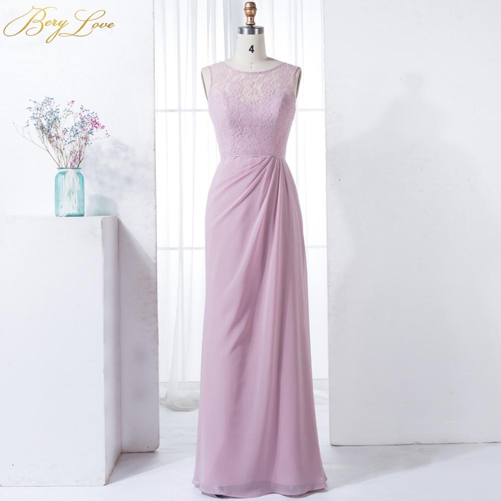 BeryLove Blush Pink Bridesmaid Dresses 2019 Long Chiffon Lace Bridesmaid Gown Beach Wedding Party Dress Bridesmaid Plus Size abi