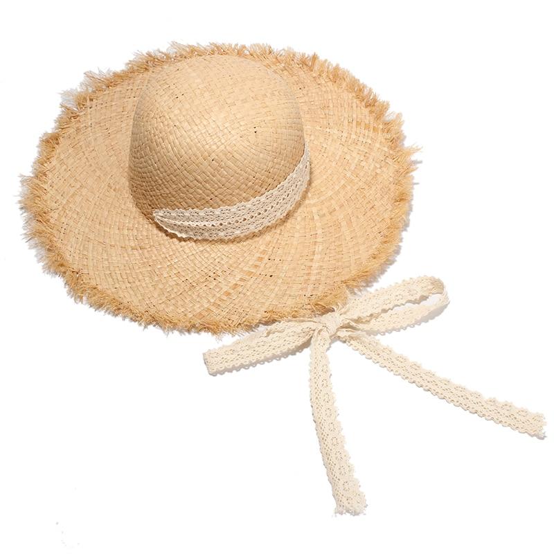 Women Summer Straw Hats Ladies Elegant Raffia Beach Sun Hats Wide Brim UV Protection Casquette With Lace Belt chapeu feminino