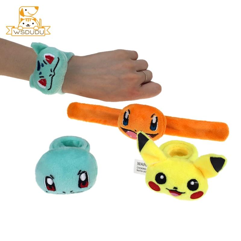 Pikachu Charmander Squirtle Bulbasaur Plush Bracelet Cute Wristband Rattle Slap Buckle Stuffed Toys Wrist Hand Belt Funny Gifts