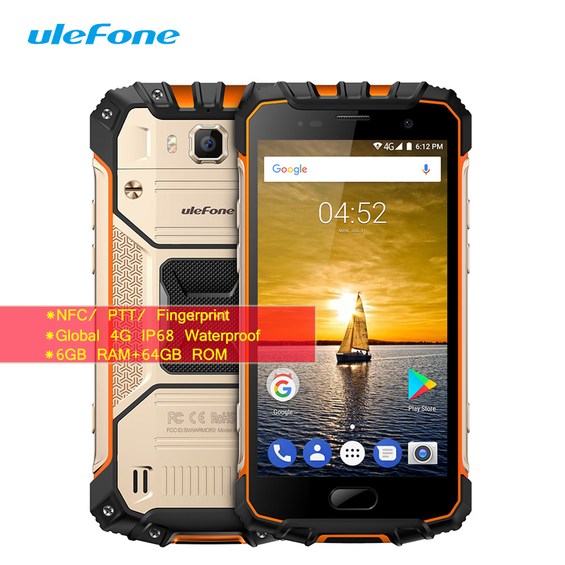 "Ulefone Armor 2 IP68 5.0"" Smartphone Global 4G NFC Fingerprint 6GB+64GB Octa Core 16MP+13MP Android 7.0 Waterproof Mobile Phone"